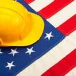 Flag and hard hat